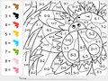 Paint color by numbers - addition and subtraction worksheet for education Royalty Free Stock Photo
