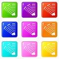 Paint color selection booklet icons 9 set