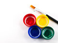 Paint covers with artist brush Royalty Free Stock Photo