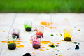 Paint cups for easter egg Royalty Free Stock Photography