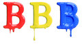 Paint dripping alphabet with different variations in red yellow and blue Stock Image