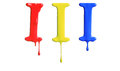 Paint dripping alphabet with different variations in red yellow and blue Royalty Free Stock Images
