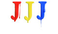 Paint dripping alphabet with different variations in red yellow and blue Stock Photo
