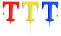 Paint dripping alphabet with different variations in red yellow and blue Royalty Free Stock Photo