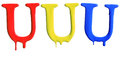 Paint dripping alphabet with different variations in red yellow and blue Royalty Free Stock Image