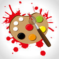 Paint palette over brown background vector illustration Royalty Free Stock Photography
