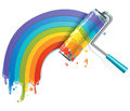 Paint roll painting the painbow Royalty Free Stock Photography
