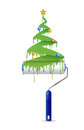 Paint roller and christmas tree illustration design over a white background Stock Images