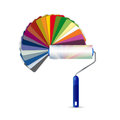 Paint roller and color pallet illustration design over a white background Stock Photos