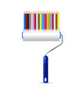 Paint roller and color pencils illustration design over a white background Stock Image