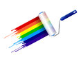Paint roller and ink rainbow illustration design over a white background Royalty Free Stock Photos