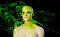 Paint splash on manekin head green splashes Royalty Free Stock Images