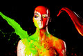 Paint splash on manekin head splashes Stock Photography