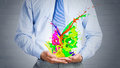 Paint splashes close up of businessman with in hands Stock Photos