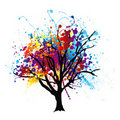 Paint splat tree Stock Image