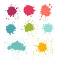 Paint splats. Stain and water drop set Royalty Free Stock Photo
