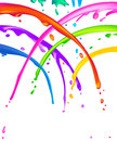 Paint splatter lots of colorful liquid seems like a cheerful shower Stock Photo