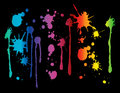 Paint splatter spectrum colored splatters on black background Stock Photography