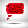Paint surface blank red with sketches on grey background Stock Images