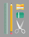 Paint and writing tools collection flat style colored stationery equipment drawing and education artist cartoon