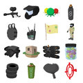 Paintball game cartoon icons set