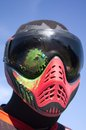 Paintball head shot sport player with by paint spot Royalty Free Stock Photography