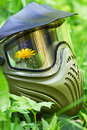 Paintball mask with flower Royalty Free Stock Photo