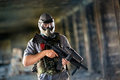 Paintball player with protective mask Royalty Free Stock Photo