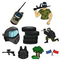 Paintball related icon set Royalty Free Stock Photo