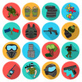 Paintball set icons in flat style. Big collection of paintball vector symbol stock illustration