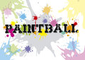 Paintball text white background colorful blue red yellow and orange colors d design Royalty Free Stock Photo