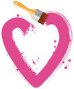 Paintbrush drawing pink heart Stock Photos