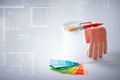Paintbrush, paint pot, gloves and pantone samplers Stock Photography
