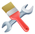 Paintbrush and spanner tools icon of cartoon crossed construction or diy or service concept Royalty Free Stock Image
