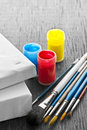 Paintbrushes with canvas various sizes of blank and paints Royalty Free Stock Image