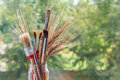 Paintbrushes with ears of cereal Royalty Free Stock Photo