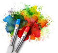 Paintbrushes with paint splatters on white two are painting a rainbow splattered art project the brushstrokes are messy a isolated Stock Image