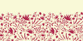 Painted abstract florals horizontal seamless vector flowers and plants pattern background with hand drawn elements Stock Image
