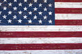 Painted American flag onn wooden wall Royalty Free Stock Photo