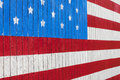 Painted american flag on side of barn washington Stock Image