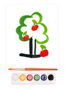 Painted apple tree, watercolor set and brush Royalty Free Stock Photos