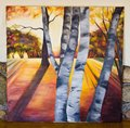 Painted artwork - birch trees forest on canvas