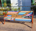 Painted bench a public art project by chilean artists who park benches in a neighborhood of santiago chile Royalty Free Stock Photography