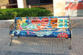 Painted bench a public art project by chilean artists who park benches in a neighborhood of santiago chile Royalty Free Stock Images