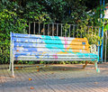 Painted bench a public art project by chilean artists who park benches in a neighborhood of santiago chile Stock Image