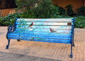 Painted bench a public art project by chilean artists who park benches in a neighborhood of santiago chile Stock Photo
