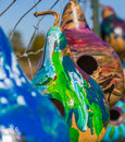 Painted birdhouse gourds colorful decorated and hand made into birdhouses Royalty Free Stock Photography