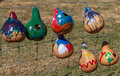 Painted birdhouse gourds and made into birdhouses hanging on a wire fence Royalty Free Stock Image