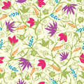 Painted blossoming branches seamless pattern vector background with hand drawn elements Royalty Free Stock Images