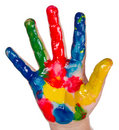 Painted child hand Royalty Free Stock Photos